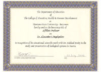 The Sertificate of Affiliate Professor of the Montana State University (USA, Bozeman, , 2002)