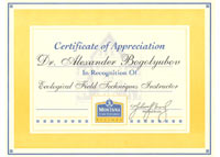 The Sertificate of Appreciation of the Montana State University (USA, Bozeman, 2000)