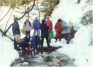 Outdoor activities: sample collection in the stream