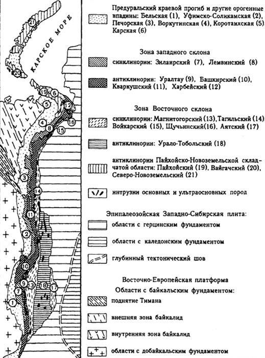 УРАЛ История развития и геологическое строение Схема тектонического районирования Урала морфотектонические зоны